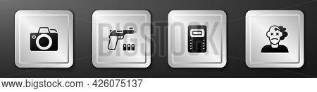 Set Photo Camera, Pistol Or Gun, Police Assault Shield And Murder Icon. Silver Square Button. Vector