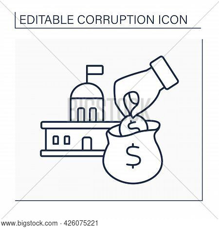 Embezzlement Line Icon.embezzling Money Crime. Stealing From Government Budget. Theft Or Misappropri