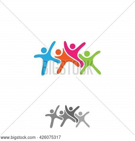 Colorful Vector Abstract People Icon Symbol. People In Abstract Shape. Vector Illustration Eps.8 Eps