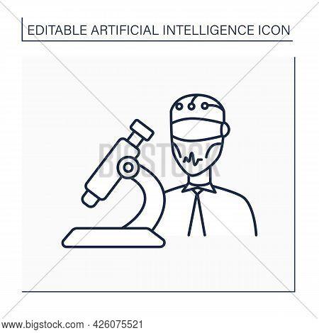 Ai In Medicine Line Icon. Digital Technologies In Medical Sphere. Modern Microscope And Robot. Ai Di