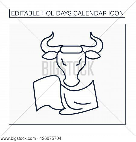 Bulls Running Line Icon. San Fermin Fiestas. Spain Traditional Holiday. Angry Bulls Run On Red Cloth