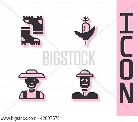 Set Scarecrow, Waterproof Rubber Boot, Farmer In The Hat And Corn Icon. Vector