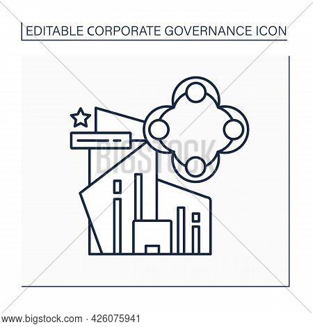 Culture Line Icon. Beliefs, Behaviors And Interaction Between Company Employees And Management.corpo
