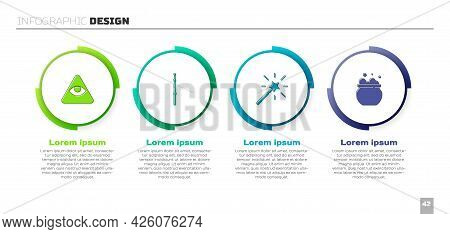 Set Masons, Magic Wand, And Witch Cauldron. Business Infographic Template. Vector