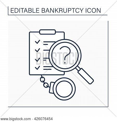 Means Test Line Icon.research Past Income And Future Expenses. Determine Whether An Individual Shoul
