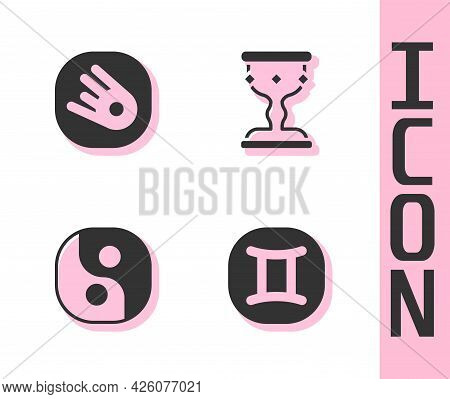 Set Gemini Zodiac, Comet Falling Down Fast, Yin Yang And Medieval Goblet Icon. Vector