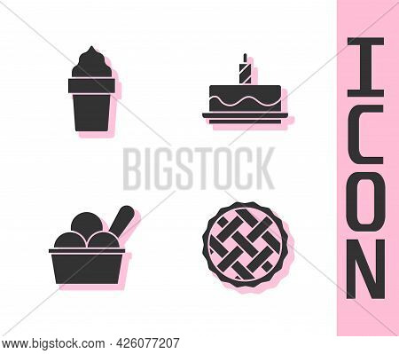 Set Homemade Pie, Ice Cream In Waffle Cone, Bowl And Cake With Burning Candles Icon. Vector