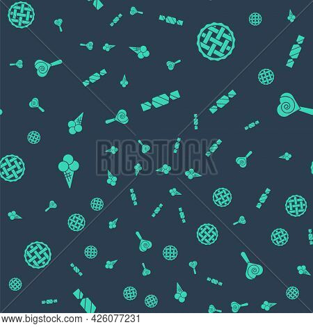 Set Candy, Homemade Pie, Ice Cream In Waffle Cone And Lollipop On Seamless Pattern. Vector