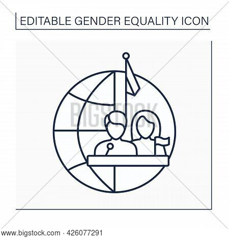 Political Right Line Icon. Equitable Participation For Both Gender In Politics And Government. Democ