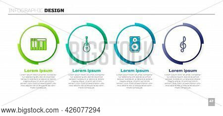 Set Music Synthesizer, Guitar, Stereo Speaker And Treble Clef. Business Infographic Template. Vector