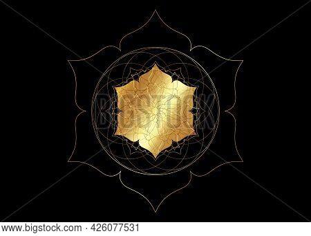 Gold Lotus Flower Mandala, Seed Of Life Symbol Sacred Geometry. Logo Icon  Geometric Mystic Mandala