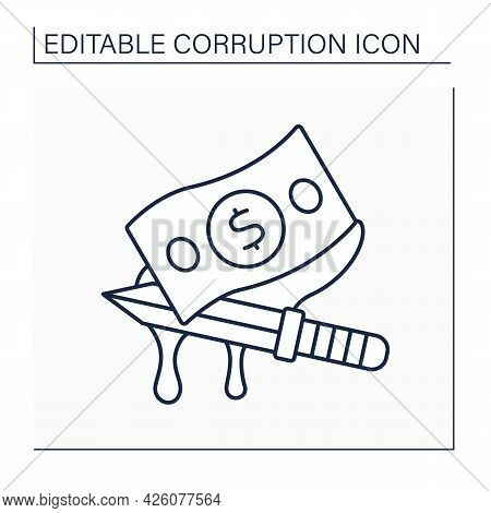 Bloody Money Line Icon. Money Obtained At The Cost Of People Lives. Bloodwit. Compensation Paid By A