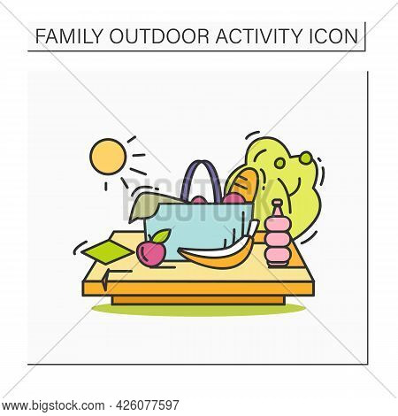 Picnic In Park Color Icon. Picnic Basket, Food And Drinks In Nature. Summer Outdoors Activity Concep