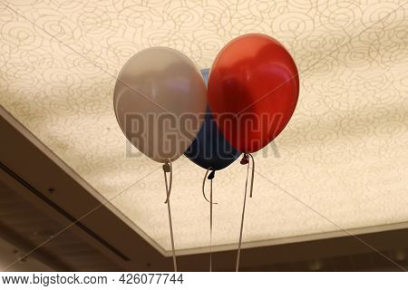 Small Balloon Inflated With Helium In The City Park