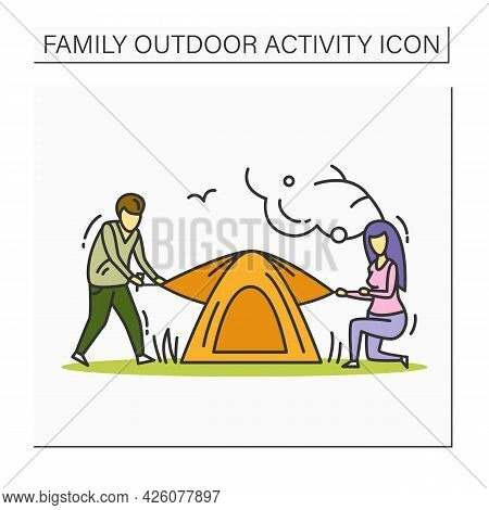 Pitching Tent Color Icon. Father And Mother Camping Together. Family Tourism, Hiking Trip. Outdoor S