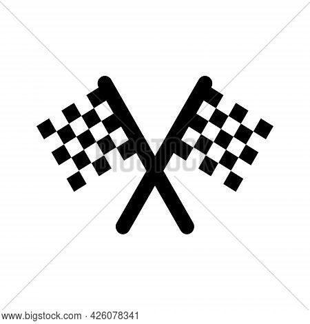 Two Crossed Checkered Flags. Finish Concept. Single Black Flat Icon. Vector Isolated On White Backgr