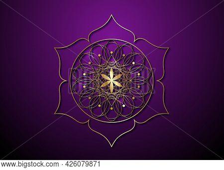 Gold Seed Of Life Symbol Sacred Geometry. Logo Icon  Geometric Mystic Mandala Of Alchemy Esoteric Fl
