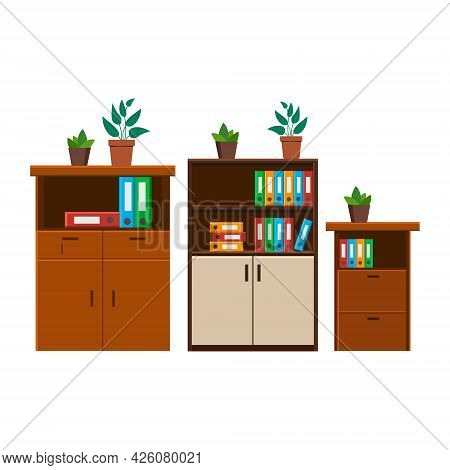 Cabinet, File Cabinet Icon. Vector Isolated Background .