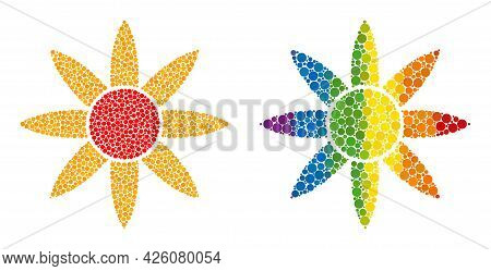 Sun Shine Composition Icon Of Round Dots In Variable Sizes And Rainbow Color Tones. A Dotted Lgbt-co