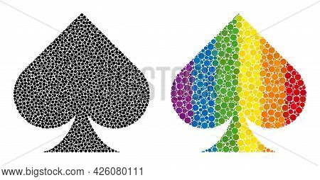 Playing Card Spade Suit Collage Icon Of Circle Spots In Various Sizes And Rainbow Colored Color Tint