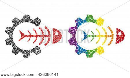 Toxic Industry Composition Icon Of Circle Elements In Various Sizes And Spectrum Bright Color Tints.