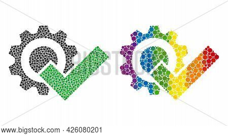 Valid Gear Composition Icon Of Circle Elements In Different Sizes And Spectrum Colored Color Tones.