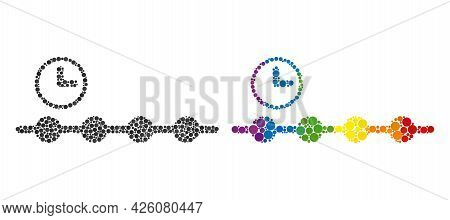 Timeline Composition Icon Of Filled Circles In Various Sizes And Spectrum Color Tones. A Dotted Lgbt