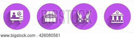 Set Peace, Censored Stamp, Handcuffs On Hands Of Criminal And Courthouse Building Icon With Long Sha