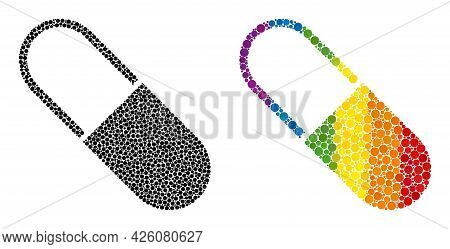 Medical Capsule Mosaic Icon Of Spheric Dots In Variable Sizes And Spectrum Colored Color Hues. A Dot