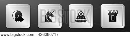 Set Moon And Stars, Unicorn, Masons And Castle Tower Icon. Silver Square Button. Vector