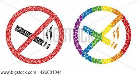 Smoking Forbidden Composition Icon Of Circle Spots In Variable Sizes And Spectrum Colorful Shades. A