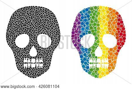 Skull Mosaic Icon Of Circle Elements In Different Sizes And Spectrum Colorful Color Tints. A Dotted