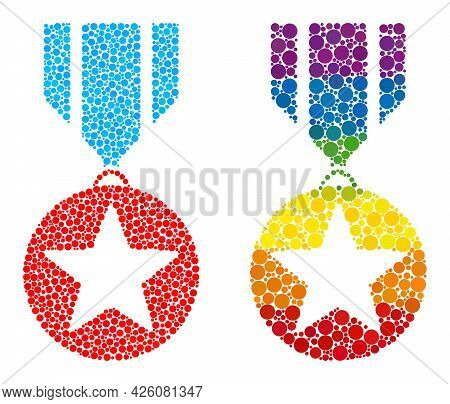 Star Medal Collage Icon Of Filled Circles In Variable Sizes And Spectrum Color Tints. A Dotted Lgbt-