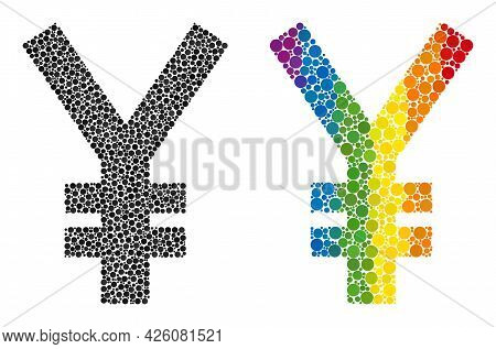 Yen Symbol Composition Icon Of Circle Elements In Different Sizes And Rainbow Colored Color Tones. A