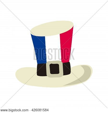 Top Hat In The Colors Of The French Tricolor. Isolated Cap For Bastille Day Or National Decor Of Fra