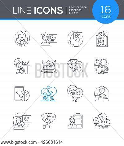 Psychological Problems - Line Design Style Icons Set