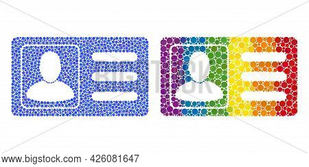 User Account Card Collage Icon Of Round Dots In Various Sizes And Rainbow Colored Color Hues. A Dott