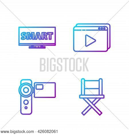 Set Line Director Movie Chair, Cinema Camera, Screen Tv With Smart Video And Online Play Video. Grad