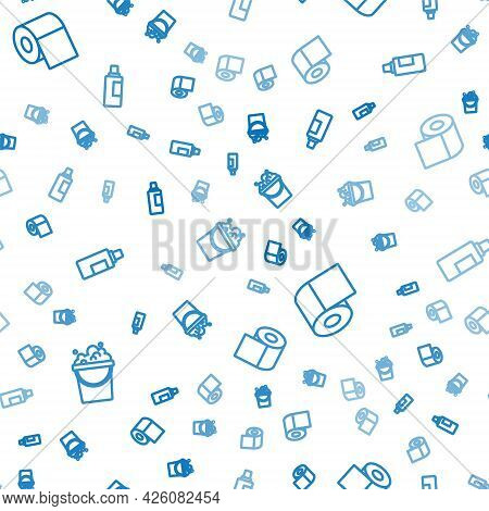 Set Line Bucket With Soap Suds, Toilet Paper Roll And Bottle For Cleaning Agent On Seamless Pattern.