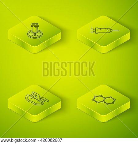 Set Isometric Line Syringe, Genetically Modified Meat, Chemical Formula And Orange Icon. Vector