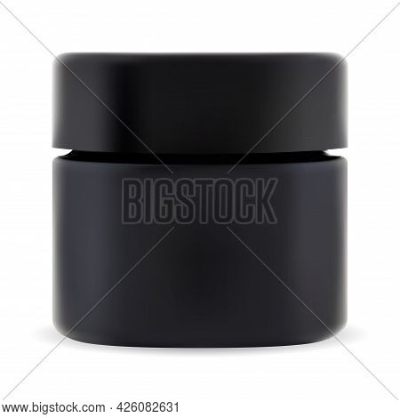 Black Cosmetic Jar. Cosmetic Cream Package Mockup. Small Plastic Bottle With Screw Lid For Scrub. Mo