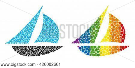 Sailing Boat Collage Icon Of Round Dots In Various Sizes And Rainbow Multicolored Color Tinges. A Do