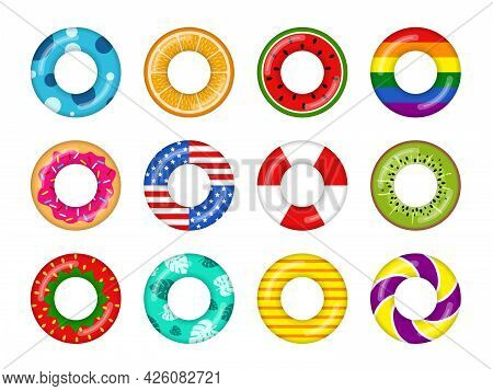 Inflatable Swimming Rings Colorful Set Isolated On White Background, Rubber Float Pool Lifesaver Rin