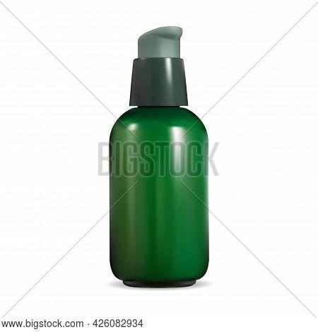 Cosmetic Pump Bottle. Airless Dispenser Serum Can. Beauty Eye Essence Mini Container. Green Pump Dis