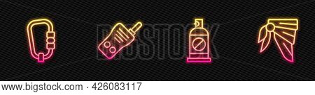 Set Line Spray Against Insects, Carabiner, Walkie Talkie And Bandana Or Biker Scarf. Glowing Neon Ic
