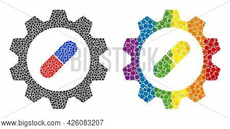 Pharma Industry Collage Icon Of Circle Spots In Variable Sizes And Spectrum Colored Color Tones. A D