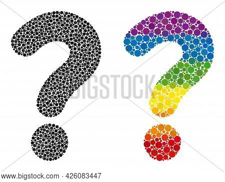 Question Mark Collage Icon Of Round Dots In Variable Sizes And Spectrum Color Hues. A Dotted Lgbt-co