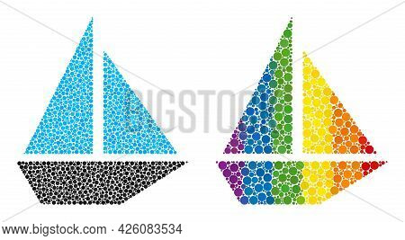 Yacht Collage Icon Of Circle Spots In Various Sizes And Spectrum Bright Color Tinges. A Dotted Lgbt-
