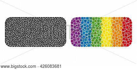 Rounded Rectangle Collage Icon Of Round Dots In Variable Sizes And Spectrum Colored Color Hues. A Do
