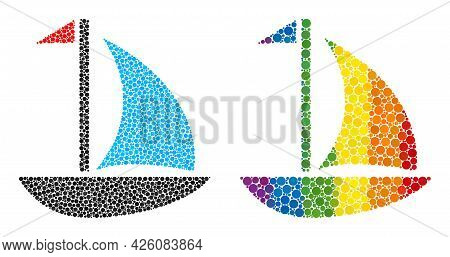 Sail Boat Composition Icon Of Spheric Dots In Various Sizes And Rainbow Color Tints. A Dotted Lgbt-c